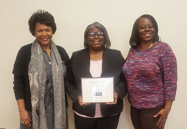 Rachel Johnson, Financial Aid Specialist (center) with Shelly Stone-Moye, Vice President of Student Development (left) and Tasha Williams, Director, Financial Aid/Veterans Affairs